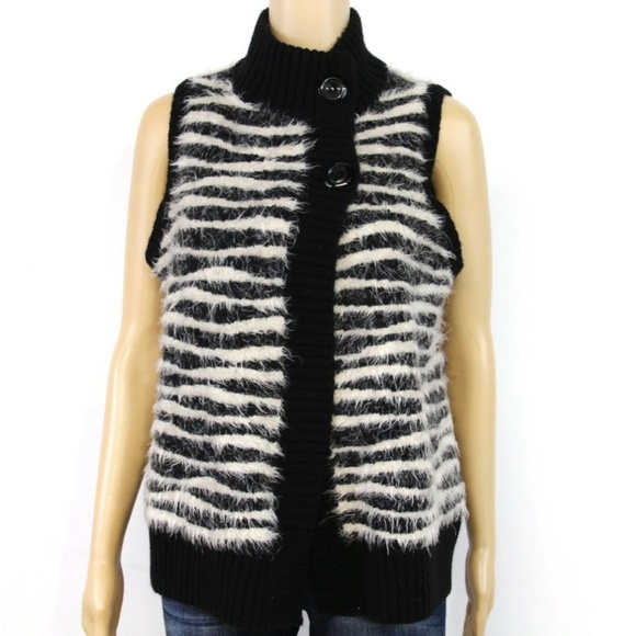 Chico's Jackets & Blazers - Chico's Womens Sweater Cardigan Vest Black White